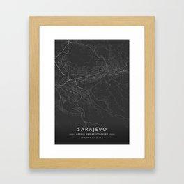Sarajevo, Bosnia and Herzegovina - Dark Map Framed Art Print