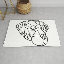Black Labrador Dog Head Mosaic Black and White Rug