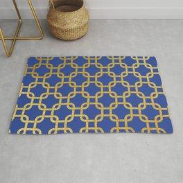 Gold interlinked squares Rug