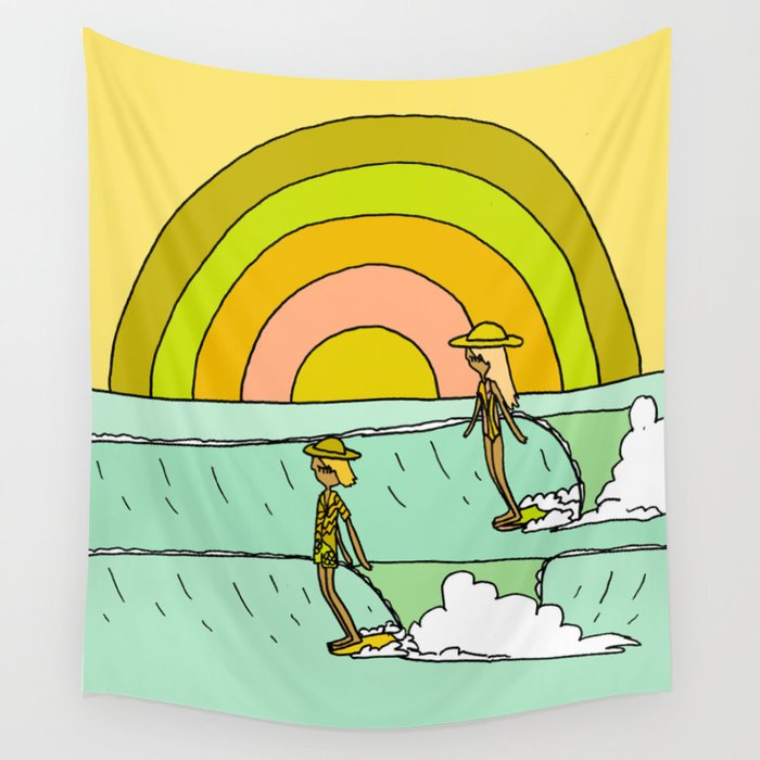 follow the light rainbow sunrise daydream hang 10 Wall Tapestry
