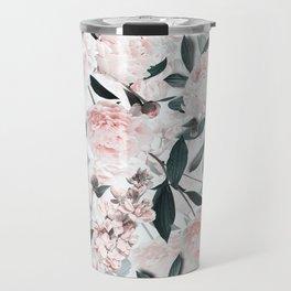 Blush Sepia Peony Flowers Garden Travel Mug