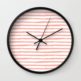 Pink Drawn Stripes Wall Clock