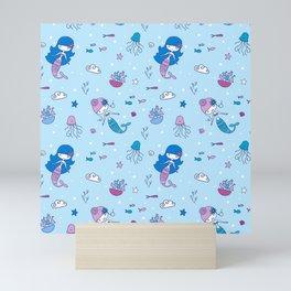 Little Blue Mermaid Mini Art Print