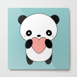 Kawaii Cute Panda Heart Metal Print