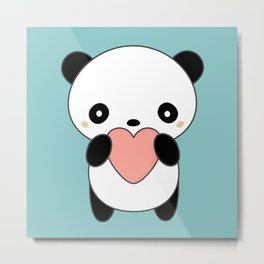 Kawaii Cute Panda Heart Metal Print