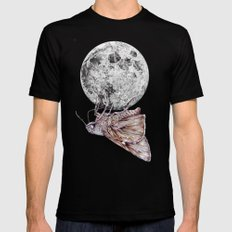 In which a moth is enticed by the light of the moon Mens Fitted Tee Black X-LARGE