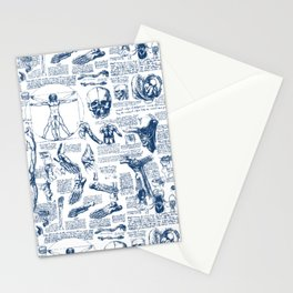 Da Vinci's Anatomy Sketchbook // Dark Blue Stationery Cards