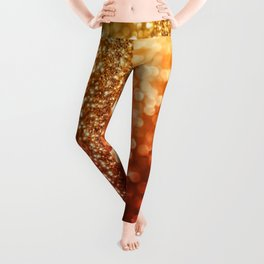 Fire and flames - Red and yellow glitter effect texture Leggings