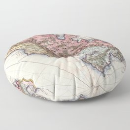 Vintage Map of Martinique Island (1742) Floor Pillow