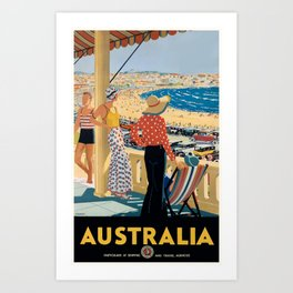 1929 Australia Bondi Beach Travel Poster Art Print