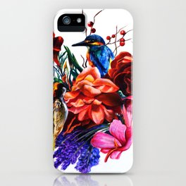 Bird Bouquet Colored Pencil Drawing iPhone Case