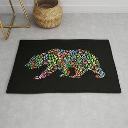 Bear Floral Watercolor Modern Art Rug