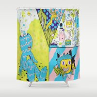 health Shower Curtains featuring Mental Health by Frenemy