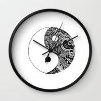 yin yang Wall Clocks featuring Yin Yang by Jackie Papers