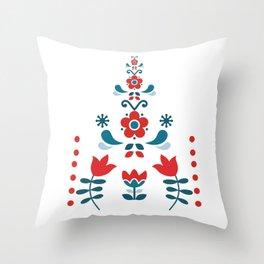 Retro Nordic Folk Throw Pillow