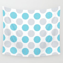 Blue, gray and white striped texture polka dots pattern Wall Tapestry