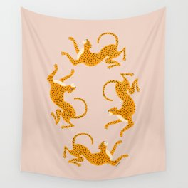 Leopard Race - pink Wall Tapestry