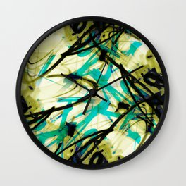 All Over Abstract Pollock Style Yellow Green and Aqua Wall Clock