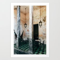 Coffee and frescoes in ex-hacienda in Mexico Art Print