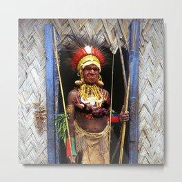Papua New Guinea Chief in Hut Doorway Metal Print