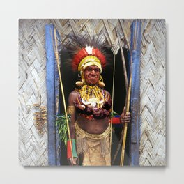Papua New Guinea Chief in Hut Doorway Metal Print