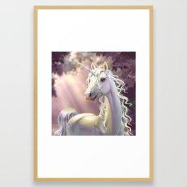 Unicorn in the forest Framed Art Print