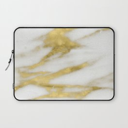 Marble - Gold Marble on White Pattern Laptop Sleeve