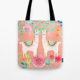 Llama in a floral frame Tote Bag