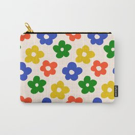 Retro Pattern Primary Rainbow Flowers #pattern #floral #vintage Carry-All Pouch