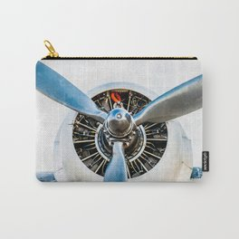 Legendary Vintage Aircraft Engine And Propeller On White Carry-All Pouch