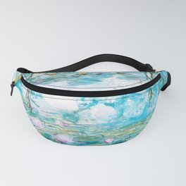 Water Lilies Monet Aqua Turquoise Fanny Pack