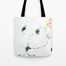 alien with flower Tote Bag