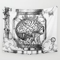 metroid Wall Tapestries featuring Mother Brain Super Metroid Engraving Scene by Barrett Biggers