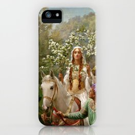 """John Collier """"Queen Guinevere's Maying"""" iPhone Case"""