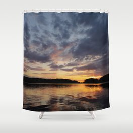 Spring Sunset - beautiful colors and reflections - cloudy sky Shower Curtain