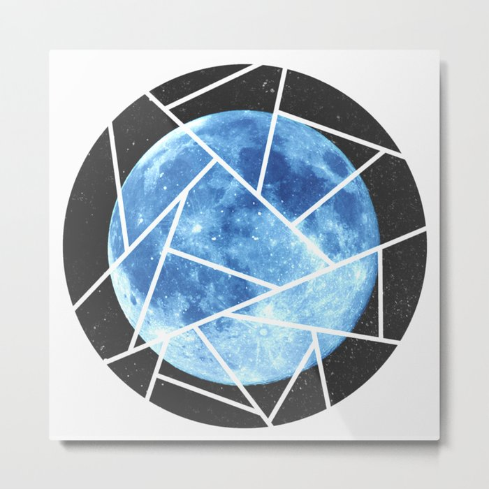 Blue Moon Minimal Design Metal Print