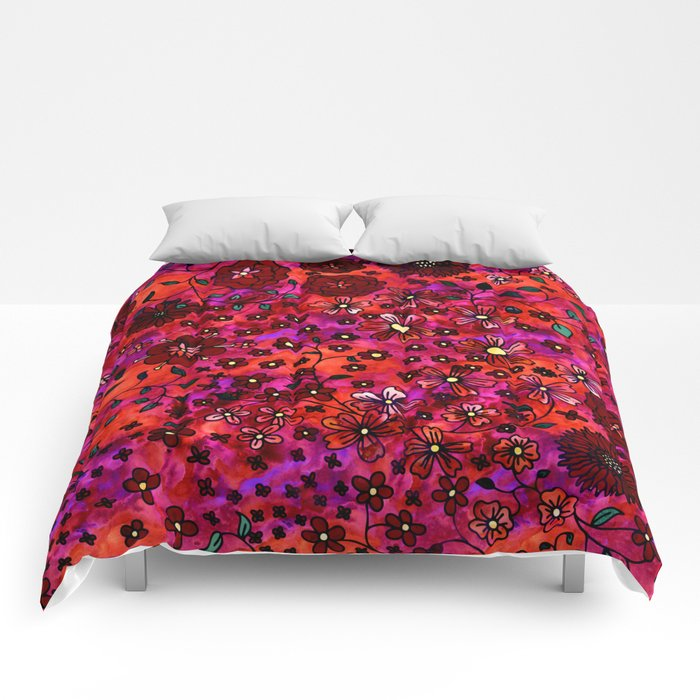 Red Small Flowers Comforters