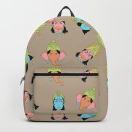 Tan Krishna, Ganesha, and Hanuman pattern Backpack