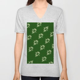 Canalflowers on green pattern Unisex V-Neck