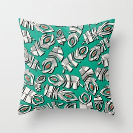 deco feathers emerald sienna Throw Pillow