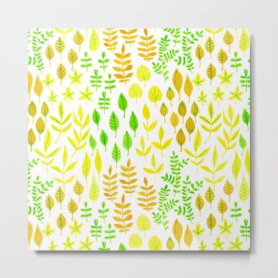 Watercolor doodle leaves pattern white Metal Print