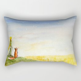 Little Prince, Fox and Wheat Fields Rectangular Pillow