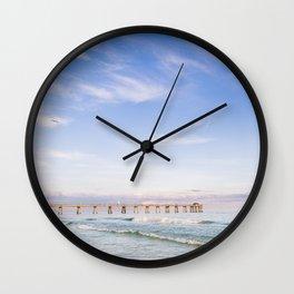 Watercolor Sunset at Okaloosa Island Pier Wall Clock