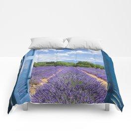 wooden shutters, lavender field Comforters