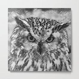 AnimalArtBW_Owl_20170918_by_JAMColorsSpecial Metal Print