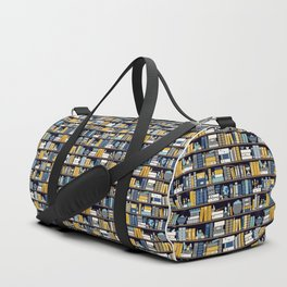 Book Case Pattern - Blue Yellow Duffle Bag