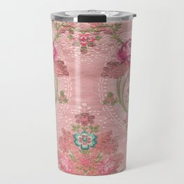 Red  Floral Pattern Art From Vintage French Taffeta Travel Mug