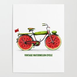 ORGANIC INVENTIONS SERIES: Vintage Watermelon Bicycle Poster