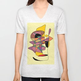abstract face Unisex V-Neck