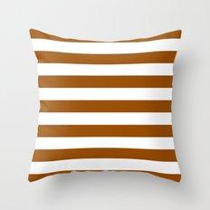 Horizontal Stripes (Brown/White) Throw Pillow